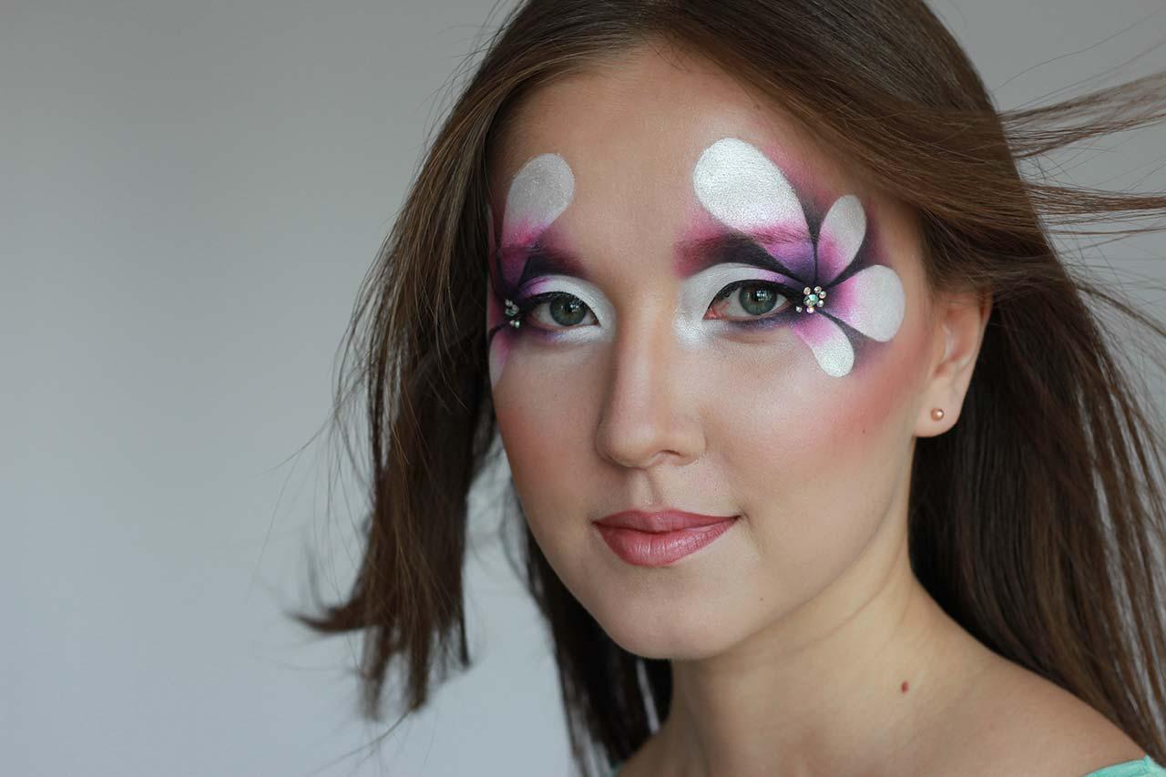 Фантазийный макияж. Акварельная техника.