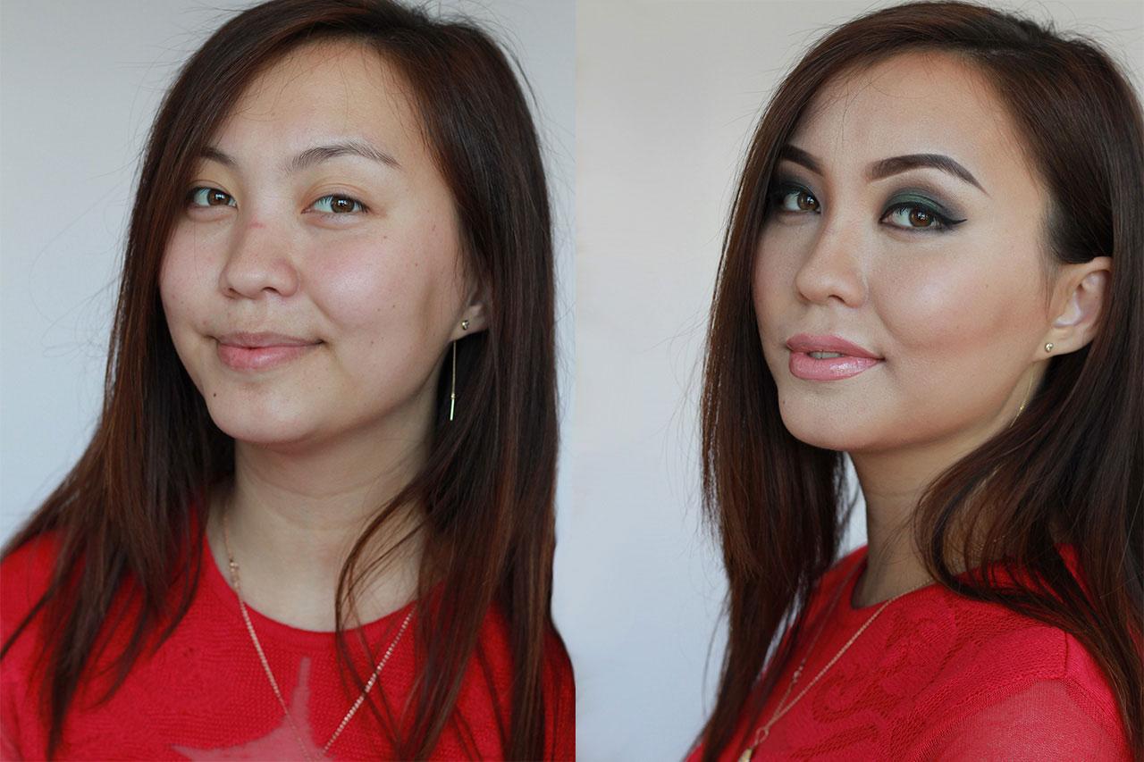 Модель до и после макияжа. Техника визажиста Samer Khousami